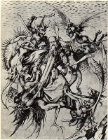 """Мартин Шонгауэр . Картина """"Искушение святого Антония"""". 1470-1475 года"""