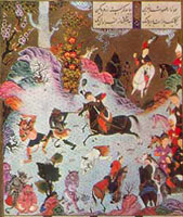 Тахмурас побеждает дивов (Мухаммед)