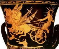 Бог солнца Гелиос на греческой амфоре