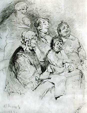 Купеческое семейство в театре. Васнецов В.М