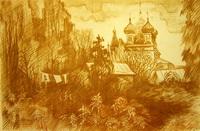 Церковь Константина и Елены (бистр, бумага, 2002 г.)
