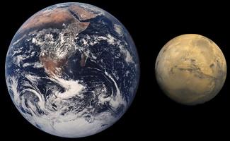 Сравнение размеров Земли и Марса