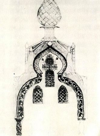 Эскиз часовни абрамцевской церкви. Васнецов В.М.