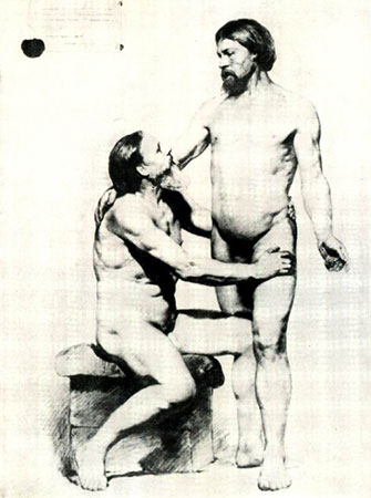 Академический рисунок два натурщика