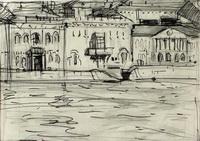 Дворцовая набережная (Н. Газеев, бумага, графит, гель, 1993 г.)