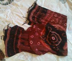 Коричневый шарфик (Узелковый батик)