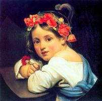 Девочка в маковом венке с гвоздикой в руке (О.А. Кипренский)