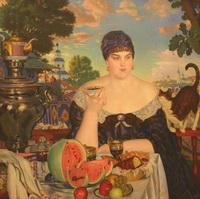 Купчиха за чаем (Б.М. Кустодиев, 1918 г.)