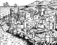 Гравюра 1493 г. к описанию острова Родос