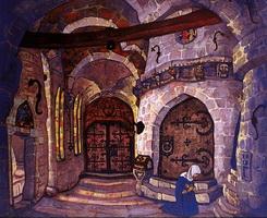 Эскиз декорации к опере Сестра Беатриса (Н.К. Рерих)